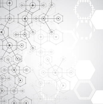 Abstract white bright technology hexagonal background. Connection structure. Vector